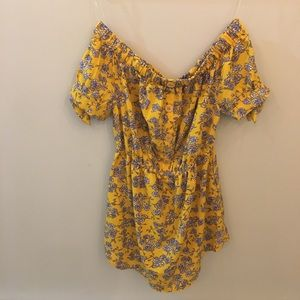 Yellow off-shoulders floral dress